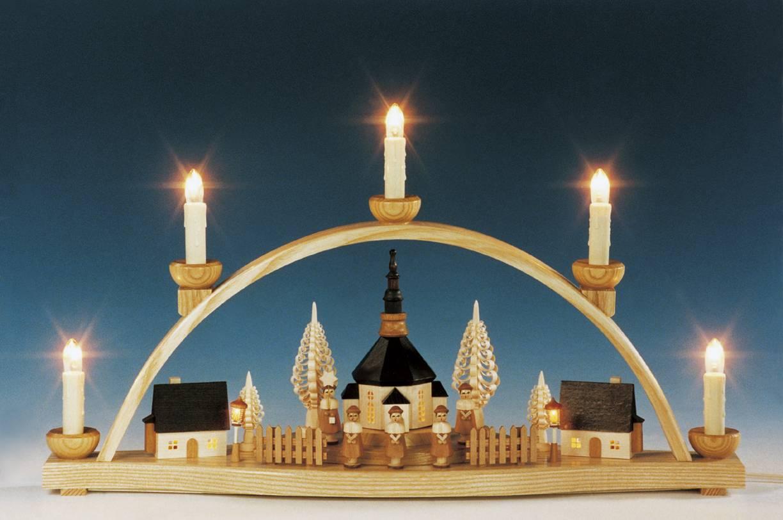 geschenkehaeusel schwibbogen seiffener kirche komplett innenbeleuchtet natur 202 481 1. Black Bedroom Furniture Sets. Home Design Ideas