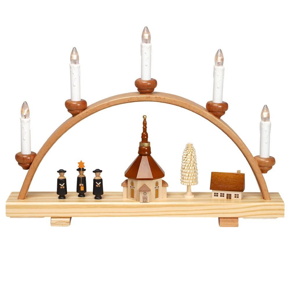 geschenkehaeusel schwibbogen seiffener kirche und kurrende klein 1020. Black Bedroom Furniture Sets. Home Design Ideas