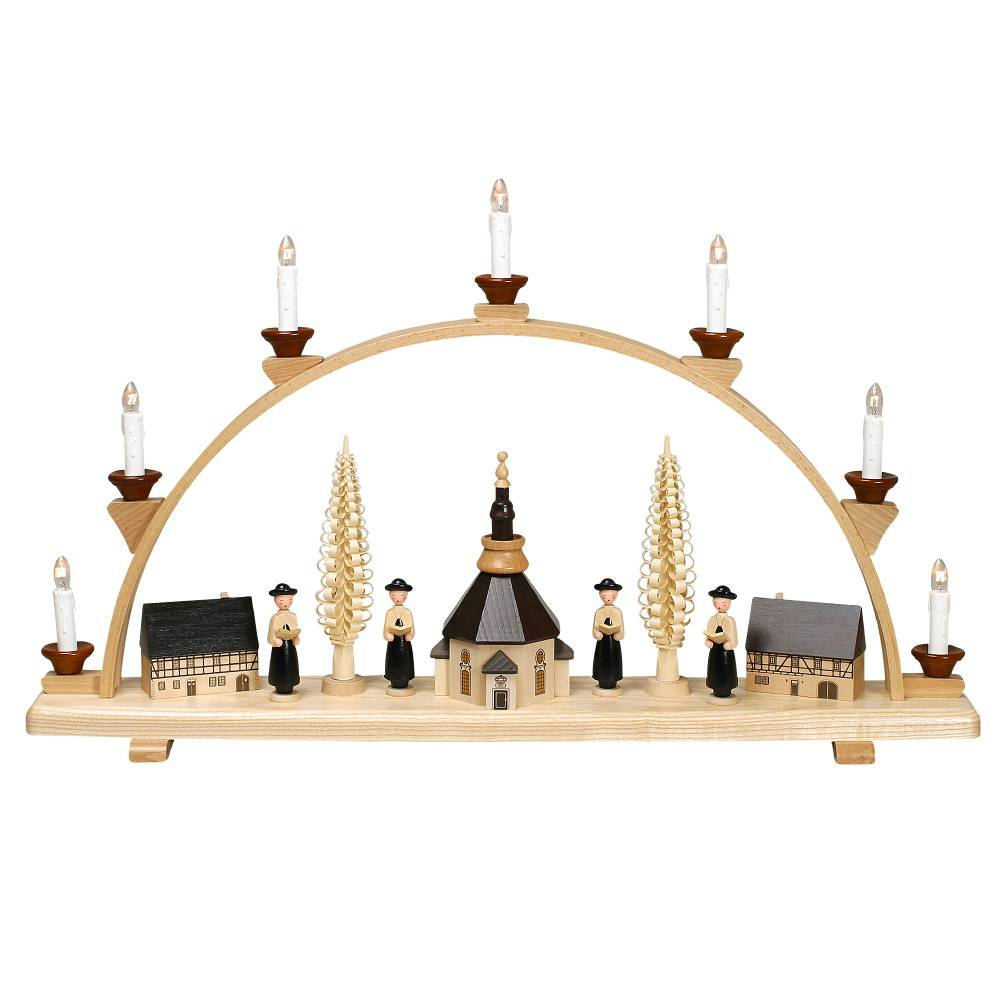 geschenkehaeusel schwibbogen mit seiffener kirche und kurrende gro elektr bel 1001. Black Bedroom Furniture Sets. Home Design Ideas