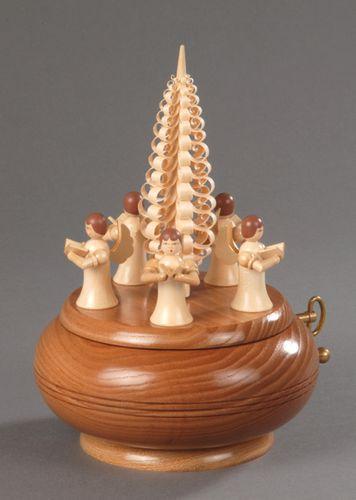 Seiffener Spieldose 5 Engel mit Spanbaum natur - Stille Nacht