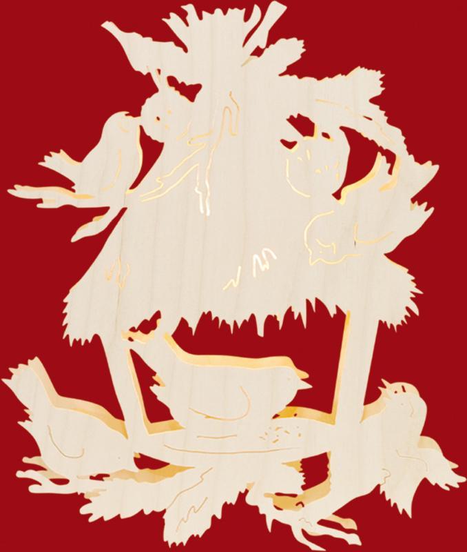 Fensterbild Motiv Vogelfütterung, beleuchtet