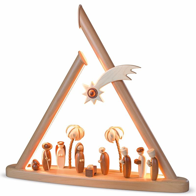 Moderne Lichterspitze, natur Heilige Familie mit LED Beleuchtung NEU 2020