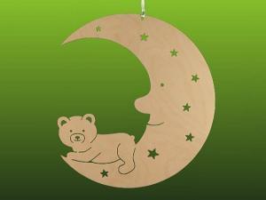 Fensterbild Teddy auf Mond