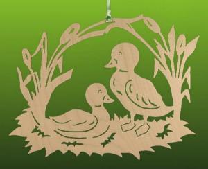 Fensterbild Entenfamilie