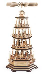 Pyramide Heilige Geschichte 4-st. natur elektrisch beleuchtet