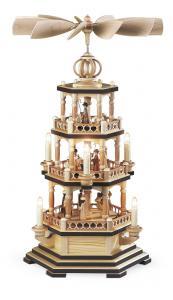 Pyramide Heilige Geschichte 3-st. natur elektrisch beleuchtet