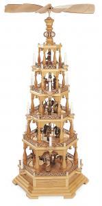 Pyramide Heilige Geschichte 5-st. natur elektrisch beleuchtet