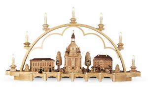 Schwibbogen Alt Dresden , komplett elektrisch beleuchtet 80 cm
