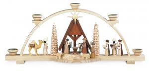 Schwibbogen Christi Geburt , mit Wachskerzen beleuchtet 47 cm