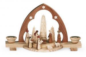 Spitzbogen Christi Geburt für 2 Wachskerzen