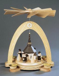 Tischpyramide natur Seiffener Kirche mit Kurrende