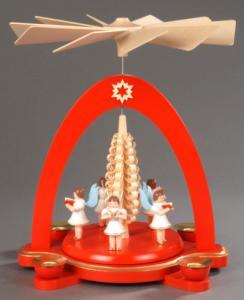 Tischpyramide rot mit 5 Engeln und Spanbaum