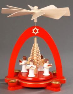 Tischpyramide rot mit 4 Engel und Spanbaum