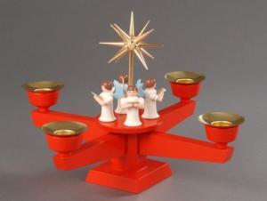 Adventsleuchter rot , 4 stehende Engel