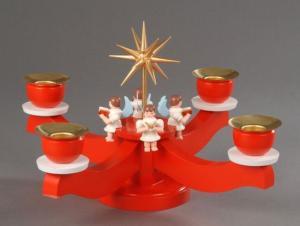 Adventsleuchter rot , 4 sitzende Engel
