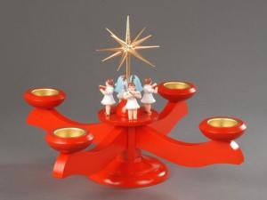 Adventsleuchter groß rot 4 stehende Engel für Teelichter