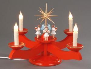 Adventsleuchter groß rot 4 stehende Engel elektrisch beleuchtet
