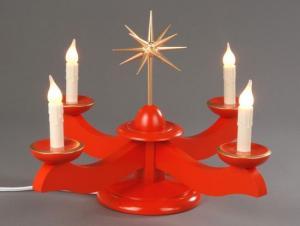Adventsleuchter groß rot ohne Engel elektrisch beleuchtet