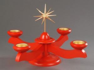 Adventsleuchter groß rot ohne Engel mit Teelichter