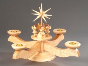 Adventsleuchter groß natur mit 4 stehenden Engeln