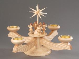 Adventsleuchter groß natur mit 4 stehenden Engeln für Teelichter
