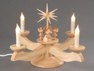 Adventsleuchter groß natur mit 4 stehenden Engeln el. beleuchtet