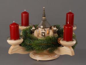 Adventsleuchter Seiffener Kirche innenbeleuchtet mit Teelichtern