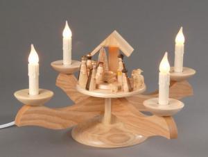 Adventsleuchter natur Christi Geburt elektrisch beleuchtet