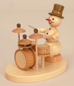 Schneemannmusikant Schlagzeug auf Sockel