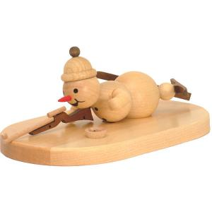 Schneemann Biathlon auf Sockel liegend