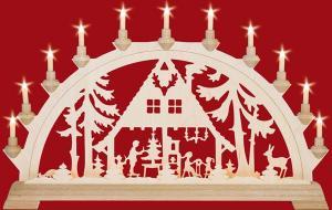 Schwibbogen Waldhaus  mit Vorbeleuchtung