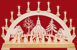 Schwibbogen Seiffener Kirche mit Kurrende mit Vorbeleuchtung