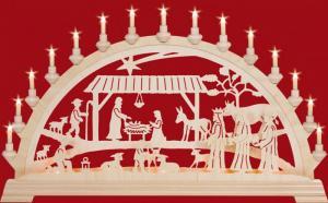 Schwibbogen Christgeburt mit Könige 84 cm mit Vorbeleuchtung