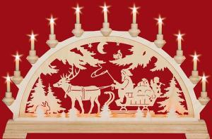 Schwibbogen Nikolaus mit Schlitten  mit Vorbeleuchtung