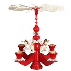 Leuchterpyramide groß rot mit 5 weissen Engeln und Teelichter
