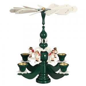 Leuchterpyramide groß grün mit 5 weissen Engeln und Teelichtern