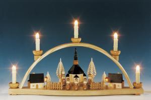 Schwibbogen Seiffener Kirche komplett innenbeleuchtet natur