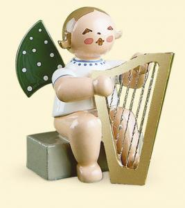 Grünhainichener Engel® mit Harfe sitzend