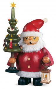 Räuchermann Weihnachtsmann mit Baum klein