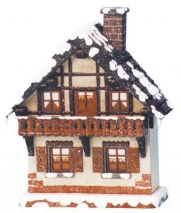 Winterkinder Winterhaus Balkon, elektrisch beleuchtet