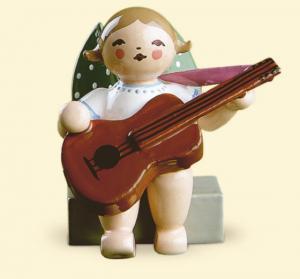 Grünhainichener Engel® mit Gitarre, sitzend