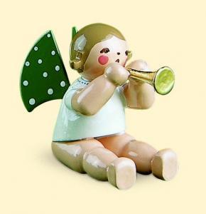 Grünhainichener Engel mit Flöte, sitzend ohne Sockel