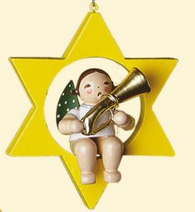 Grünhainichener Christbaumengel mit Basstrompete im Stern