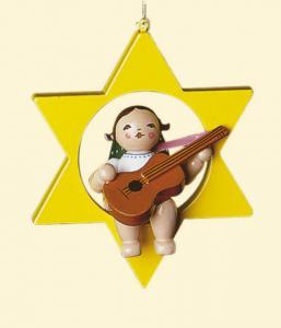 Grünhainichener Christbaumengel mit Gitarre im Stern