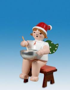 Ellmann Weihnachtsengel sitzend mit Teigschüssel und Mütze
