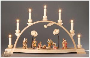 Seiffener Schwibbogen Christi Geburt mit geschnitzten Figuren