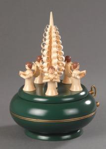 Seiffener Spieldose 5 Engel mit Spanbaum grün