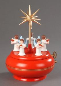 Seiffener Spieldose 5 Engel mit Stern