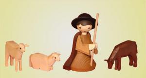 Hirte knieend mit 3 Schafen gebeizt 22 cm