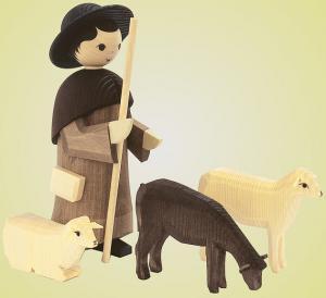 Hirte mit 3 Schafen gebeizt 22 cm